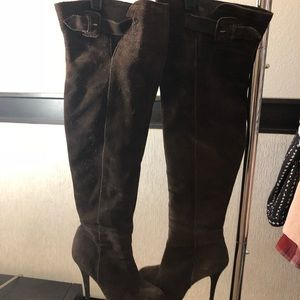 Brown over knee boot